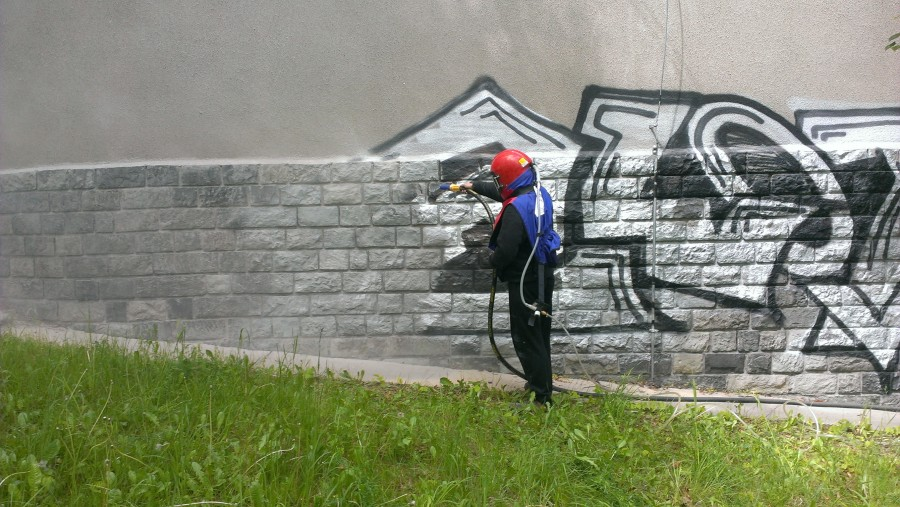 Odstranění graffity pískováním Praha